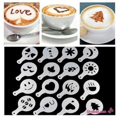 Шаблони за декорация на кафе, мляко, капучино, сладкиши - 16 броя