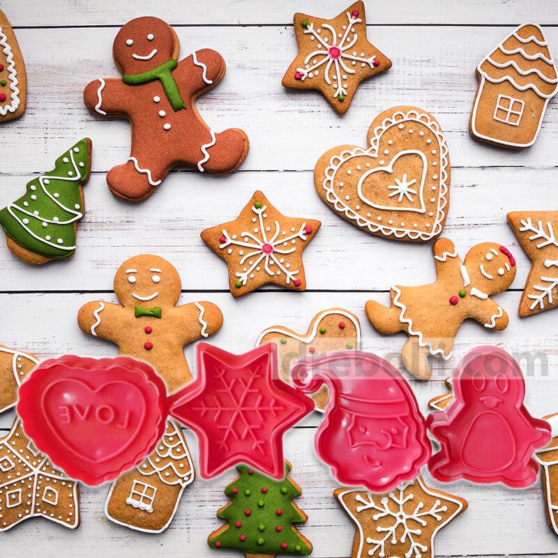 Коледни резци за сладки - Снежинка, Дядо Коледа, Сърце, Пингвин