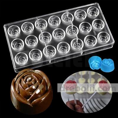 """Поликарбонатна форма за шоколадови бонбони """"Роза"""""""
