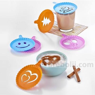 Шаблони за декорация на кафе, мляко, капучино, сладкиши - 4 броя